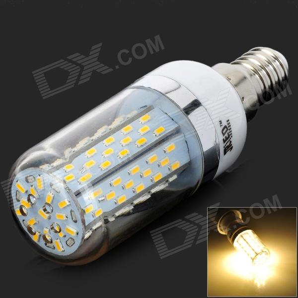 JRLED JR-LED-E14-8W-3014 SMD E14 8W 550lm 3200K 120-3014 SMD LED Warm Light Bulb (AC 85~265V)E14<br>Color White + Silver Color BIN Warm White Brand JRLED Model JRLED-E14-8W-3014 Material Plastic Quantity 1 Piece Power Others8W Rated Voltage AC 85-265 V Connector Type E14 Chip Brand Huga Chip Type No Emitter Type Others3014 SMD Total Emitters 120 Theoretical Lumens 660 lumens Actual Lumens 400-550 lumens Color Temperature Others2800-3200K Dimmable no Beam Angle 360 ° Wavelength N/A Other Features Best choice for home lighting. Packing List 1 x Bulb<br>