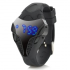 Fashion Titanium Alloy Case Rubber Band LED Digital Wrist Watch - Black + Silver (1 x CR2032)