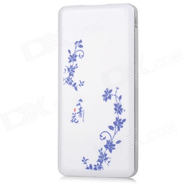 V04 Universal Blue & vit porslin mönster 6500mAh Dual USB Output Power Bank
