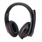 DANYIN DT-2208 3.5mm Wired Headband Headphone - Black + Red