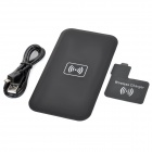 Qi Standard Wireless Charger + Wireless Charger Receiver for Samsung Galaxy S4 - Black