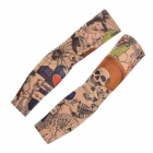 JUQI Tattoo Pattern Nylon + Spandex Seamless Arm Sleeves - Black + Multicolored (Pair)