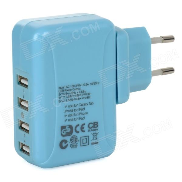 25W 5V 5A 4-Port USB Power Adapter w/ UK / EU / US / AU Plug for Cellphones + More - Blue (100~240V) kwen tc05 usb 5 port eu us au uk power adapter charger w indicator white 100 240v