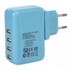 25W 5V 5A 4-Port USB Power Adapter w/ UK / EU / US / AU Plug for Cellphones + More - Blue (100~240V)