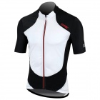 Santic MC02044 Cycling Polyester Fiber Short Sleeves Jersey for Men - White + Black (Size XXL)