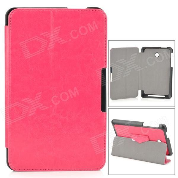 Beskyttende PU Leather Case w / stativ / Magnetic Closure for ASUS ME175 - Deep Pink