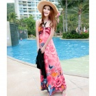 0762 Casual Micro Fiber Beach Halter Long Dress - Pink + Beige + Multicolored