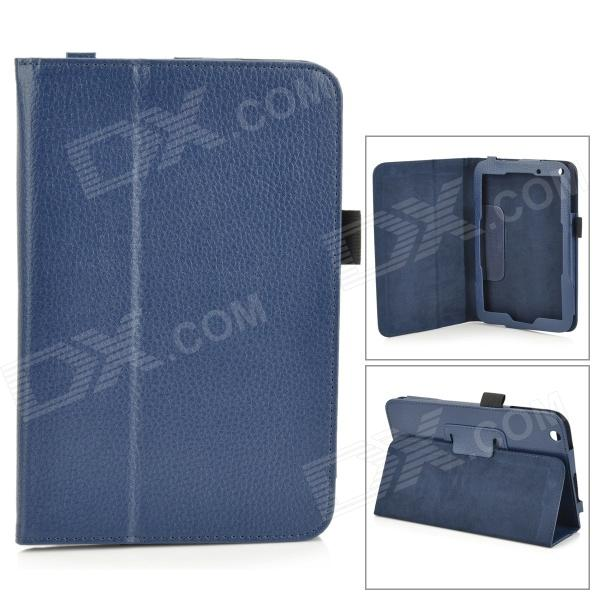 Case lichee motif protection PU cuir complet du corps w / Stand pour Toshiba WT8 - bleu profond