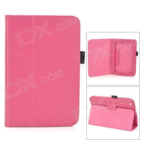 все цены на Lichee Pattern Protective PU Leather Full Body Case w/ Stand for Toshiba WT8 - Deep Pink онлайн