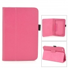 Lichee Pattern Protective PU Leather Full Body Case w/ Stand for Toshiba WT8 - Deep Pink