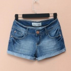 Rivets Wear White Low-waist Denim Shorts for Women - Denim Blue (Size-32)