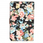 Protective Floral Pattern PU Leather Case for Samsung Galaxy Tab Pro 8.4 T320  - Black + Multicolor
