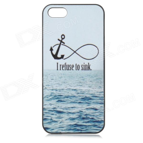 Sea Pattern Protective Plastic Back Case for IPHONE 5 - White + Bright Blue
