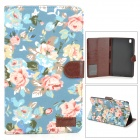 Protective Flower Pattern PU Leather Case for Samsung Galaxy Tab Pro 8.4 T320  - Blue + Pink