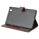 Flip-open Denim PU Leather Case w/ Stand for Samsung Galaxy Pro 8.4 T320 - Dark Blue + Brown
