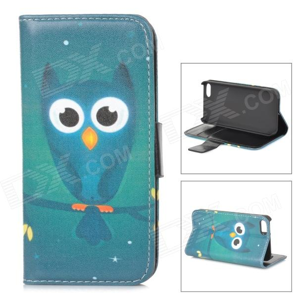 Owl Pattern Protective PU Leather + Plastic Case w/ Stand for IPHONE 5 / 5S - Blue + Black protective pu case w stand strap for iphone 5 5s black