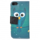 Owl Pattern Protective PU Leather + Plastic Case w/ Stand for IPHONE 5 / 5S - Blue + Black