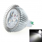 LUO V21 MR16 3W 300lm 6000K 3-LED White Spotlight Bulb - Silver (12V)