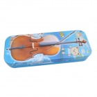 DEDO MG-25 Violin Pattern Iron 2-Layer Children Pencil Box - Blue