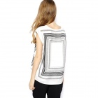 Women Hit Color Box Printing Short-sleeved Round Neck T-shirt - White + Black (Size-L)