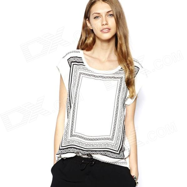 Women Hit Color Box Printing Short-sleeved Round Neck T-shirt - White + Black (Size-M)