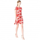 Joker Slim Fit Round Neck Short Sleeve Swan Printing Design Dresses - Red (Size-M)