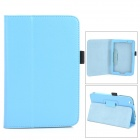 Lichee Pattern Protective PU Leather Full Body Case w/ Stand for Toshiba WT8 - Light Blue