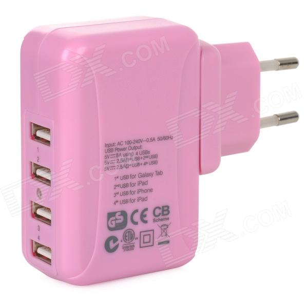 25W 5V 5A 4-Port USB Power Adapter w/ UK / EU / US / AU Plug for Cellphones + More - Pink (100~240V) kwen tc05 usb 5 port eu us au uk power adapter charger w indicator white 100 240v