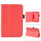 Lichee Pattern Protective PU Leather Full Body Case w/ Stand for Toshiba WT8 - Red