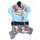 British Style Pet's Dog Clothes - Light Blue + Red (Size XL)