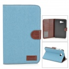 Protective Denim PU Leather Case for Samsung Galaxy Tab 3 Lite T110 - Light Blue + Brown