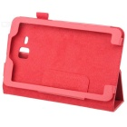 Lichee Pattern Protective PU Leather Full Body Case for Samsung Galaxy Tab 3 Lite T110 - Red