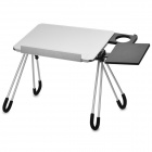 LD05 Fashion Aluminum Alloy Folding Laptop Table - Silver White + Black