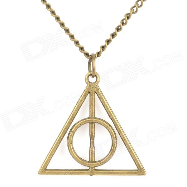 Deathly Hallows Style Zinc Alloy Pendant Necklace - Coppery - DXNecklaces<br>Color Coppery Quantity 1 Piece Shade Of Color Brown Gender Unisex Suitable for Adults Chain Material Zinc alloy Pendant Material Zinc alloy Chain Length 38 cm Chain Width 0.3 cm Packing List 1 x Necklace<br>