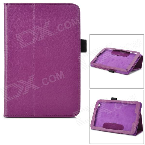 Lychee Pattern Protective PU Leather Case w/ Stand for Toshiba WT8 - Purple