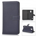 IKKI Classic Flip-open Split Leather Case w/ Holder + Card Slot for Samsung Galaxy S5 - Dark Purple