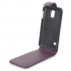 Protective Top Flip Open PU Leather Case w/ Card Slot for Samsung Galaxy S5 - Purple