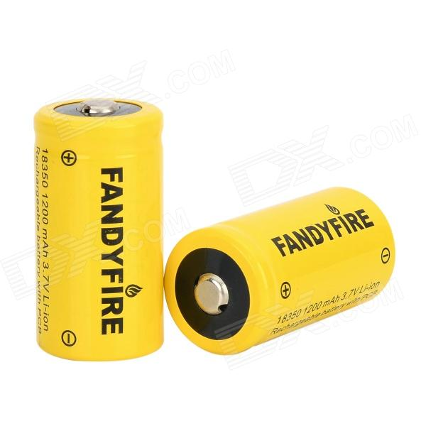 FANDYFIRE Rechargeable 3.7V 700mAh 18350 Lithium Ion Battery - Yellow (2 PCS) goop cr2025 3v lithium cell button batteries 5 x 10 pcs