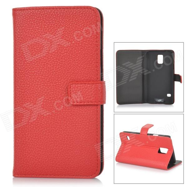 IKKI Classic Flip-open Split Leather Case w/ Holder + Card Slot for Samsung Galaxy S5 - Red ikki sweet cartoon pattern flip open pu case w holder card slot for samsung galaxy s3 mini i8190