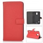 IKKI Classic Flip-open Split Leather Case w/ Holder + Card Slot for Samsung Galaxy S5 - Red