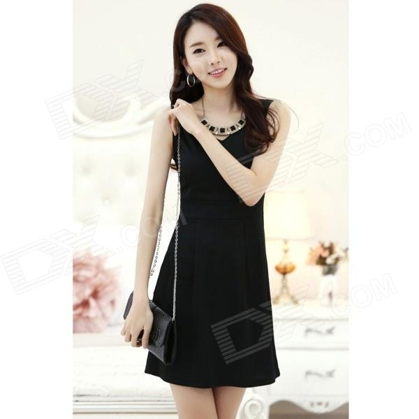 YX-0110 Fashion Sleeveless Blended Cotton Dress - Black (L) - DXDresses<br>Color Black Size L Model YX-0110 Quantity 1 Piece Shade Of Color Black Material Blended cotton Style Fashion Shoulder Width 35 cm Chest Girth 84 cm Waist Girth 70 cm Hip Girth No cm Total Length 80 cm Suitable for Height 158~175 cm Packing List 1 x Dress<br>