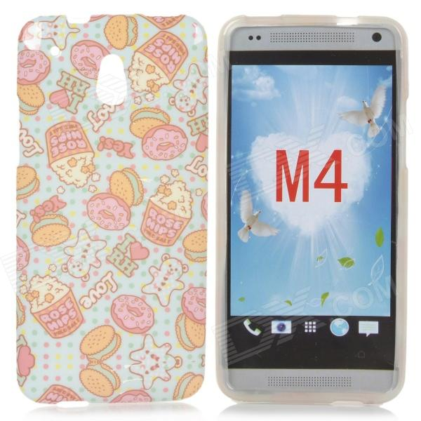 Cute Popcorn Pattern TPU Back Case for HTC One Mini / M4 / 601e - Blue + Pink protective plastic back case for htc one mini m4 pink