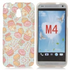 Cute Popcorn Pattern TPU Back Case for HTC One Mini / M4 / 601e - Blue + Pink
