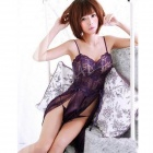 8166 Sexy Spandex Sleep Dress w/ Thong - Purple (Free Size)