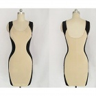 WS-2597 Fashion Knitted Cotton Backless Slim Dress for Women - Black + Khaki (M)
