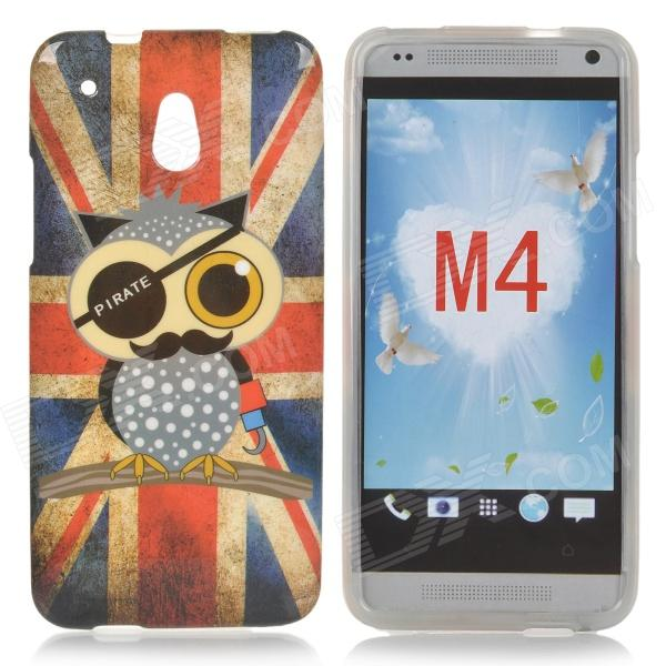 Cute Owl UK Flag Pattern TPU Back Case for HTC One Mini / M4 / 601e - Red + Blue cute owl pattern tpu back case for iphone 6 plus 5 5 yellow orange multi color