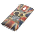 Cute Owl UK Flag Pattern TPU Back Case for HTC One Mini / M4 / 601e - Red + Blue