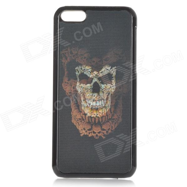 Cool 3D Skull Pattern ABS Back Case for IPHONE 5 / 5C - Black + Blue + Yellowish-brown protective heart shape rhinestone decoration back case for iphone 5 brown
