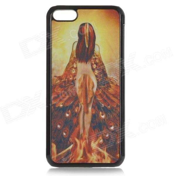 Cool 3D Peacock Woman Pattern ABS Back Case for IPHONE 5C / 5 - Black + Yellow рюкзак case logic 17 3 prevailer black prev217blk mid