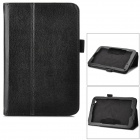 Lychee Pattern Protective PU Leather Case w/ Stand for Toshiba WT8 - Black